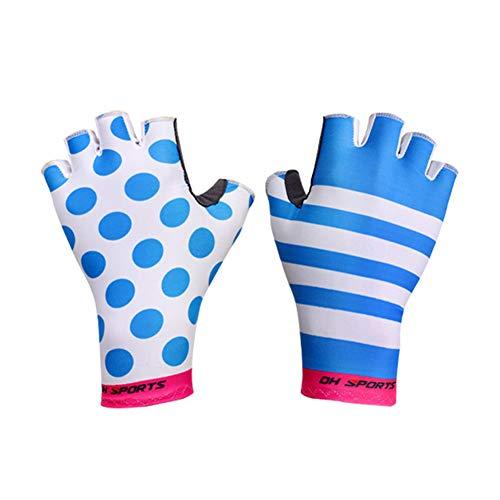 CAheadY Outdoor Cycling Unisex Half Finger Breathable Anti-Rutsch-Handschutzhandschuhe Pink + Blue XL