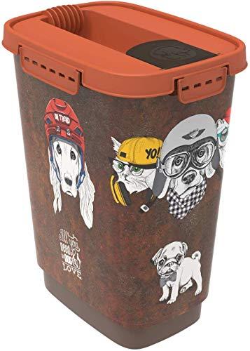Rotho Cody, Recipiente de comida para mascotas de 10 litros con tapa y solapa, Plástico PP sin BPA, marrón, naranja, 10l 24.3 x 17.9 x 32.2 cm