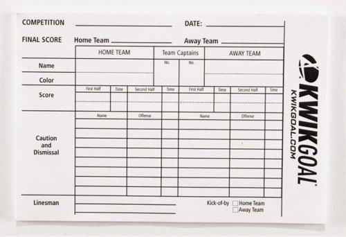 Kwik Goal Referee Score Sheets