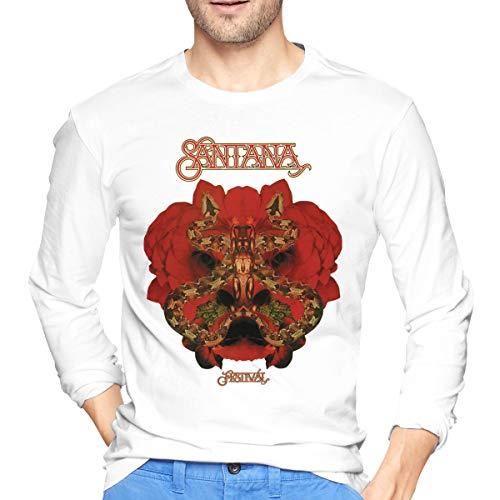 Asuuats Santana Festival Mens T-Shirt Long Sleeve Pattern Tops Black