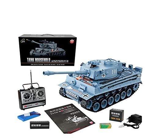 s-idee® RC Panzer YH4101E-1 German Tiger 1:16 2.4 Ghz Ferngesteuerter Panzer RC Tank mit Schuss-Funktion Sound RTR