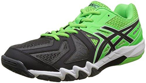 Asics Gel-Blade 5, Zapatillas de Balonmano para Hombre, Multicolor (Green Gecko/Black/Dark Grey), 44 EU
