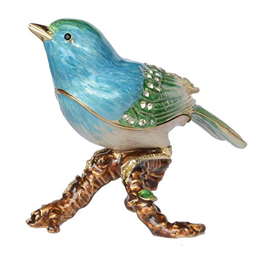 WPXBF Statue Statuen Finch Canary Bird Emaillierte Schmuckschatulle Halskette Ringhalter Schmuckbehälter Vogelfiguren Sammlerstücke Geschenke