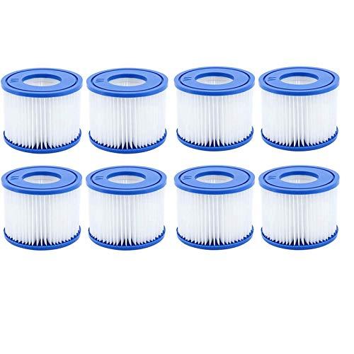NJYBF VI Filterkartusche für Pool, für Bestway VI Pool Filter für Whirlpool Filter Kartusche Ersatz Filter Filterkartusche aufblasbare Pools (8 Stück)