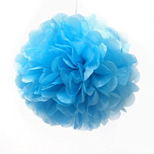 10 pcs 25,4 cm papier de soie pompons fête de mariage Decor Craft Fleurs en papier pour fête de mariage 10 Inch bleu