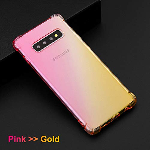 JLFDHR Gradient Color Soft Clear TPU Funda para teléfono móvil para Samsung Galaxy S10 Plus Note10 Pro Samsung A50 A70 Note 8 9 -para S8 Plus-Oro Rosa