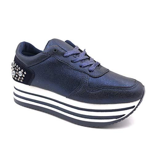 Angkorly - Damen Schuhe Sneaker - Plateauschuhe - Straße - Nieten-Besetzt - Perle - Streifenmuster 4.5 cm - Blau GG502 T 39