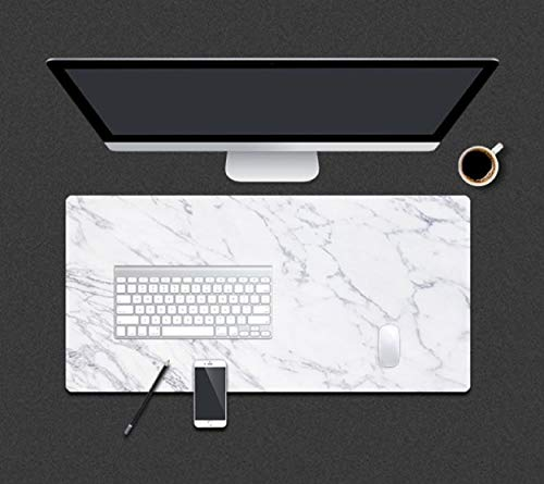 """Extended Large PU Leather Mouse Pad Mat Waterproof Non-Slip Office Desk Pad Gaming Table Mat for PC Computer MacBook iMac Keyboard Phone (31.5""""×15.7"""", Marble)"""