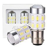 AGLINT 2X Ampoule 1157 LED 24SMD BY15D Feux Arrière Voiture DRL Feu Recul Frein Lampe Blanc 6000K 12V 24V