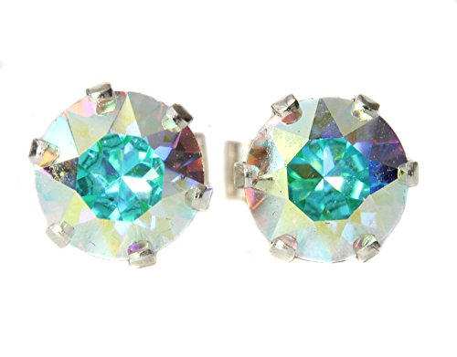 Black Moon  Sterling Silver and Rainbow Crystal (AB) Stud Earrings made with Crystal from Swarovski