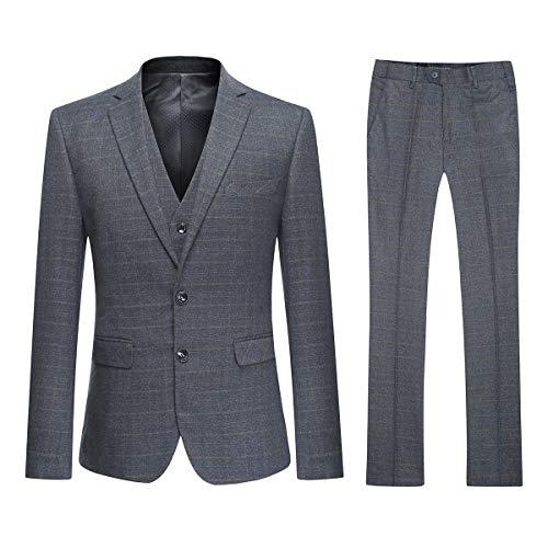 Mens Check Suit Classic Slim Fit 3-delige pakken op maat Fit Zakelijke Casual Blazer Taille & Broek