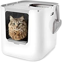 Modkat XL Litter Box, Top or Front-Entry Configurable, Includes Scoop and Liners - Black (White)
