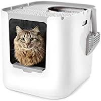 TOP OR FRONT-ENTRY: The patent pending design gives you the option to configure the Modkat XL as a top or front-entry litter box. Simply remove the front cover and snap on the walk-off platform to make it front-entry! PREVENTS LITTER TRACKING: The Mo...