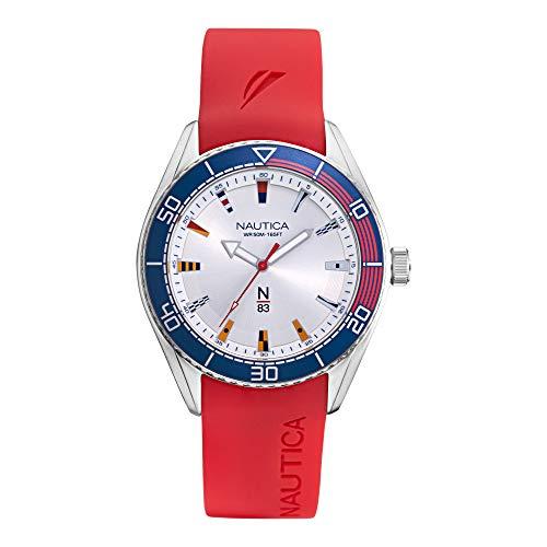Nautica Finn World - Reloj casual de cuarzo para hombre, chapado en latón, correa de silicona, color rojo, 22 (modelo: NAPFWS002)