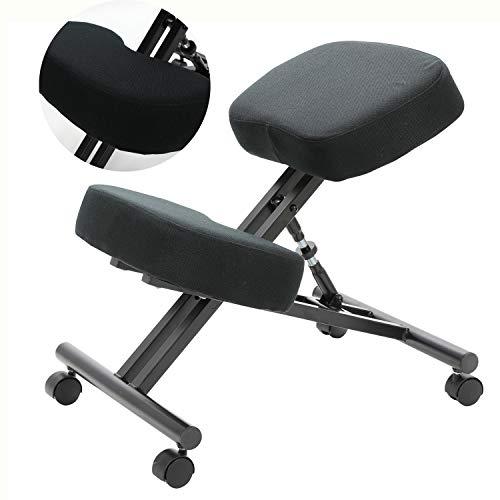 Silla clásica de rodillas – ergonómica diseñada para ayudar a aliviar el dolor y mejorar la postura – Sillas de oficina silla correctora de postura para espalda mala, color negro
