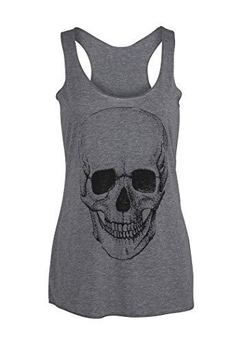 T-shirt pour femme avec tête de mort - Style gothique punk rock'n'roll - Gris - 36/38