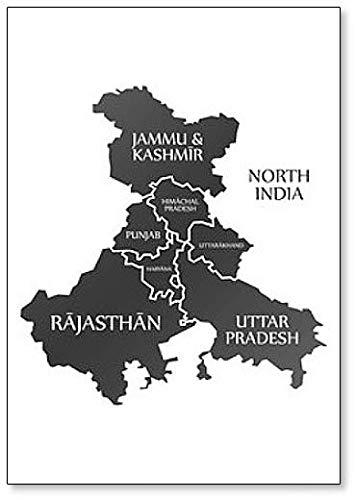 Imán para nevera con ilustración de mapa de la región de la India del Norte