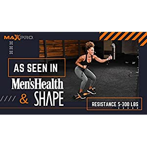 MAXPRO Fitness Portable Smart Cable Home Gym | All-in-One Machine w/Bluetooth - Exercise, Build, Burn & Tone. Strength, HIIT, Plyo. (Powerful 5-300lbs Concentric Resistance), Sport Orange SmartConnect