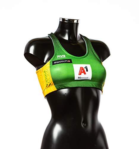 Major - Sujetador deportivo para voleibol, Mujer, verde y amarillo., large