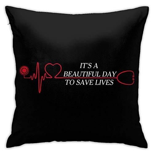 WH-CLA Pillow Cover It's A Beautiful Day To Save Lives Sofá De Anime Cuartos De Estar Acogedoras Fundas De Almohada Funda De Almohada Cama Hogar Dormitorio Cremallera Duradera Fiesta Pers