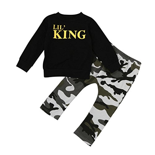 FNKDOR Baby Kleinkind Kinder 1-7 Jahre Jungen Brief Outfits Kleidung Set T-Shirt Tops + Camouflage Hosen(2 Jahre,Schwarz)