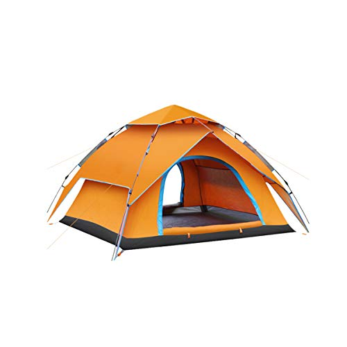 Zeroall Pop Up Camping Tent for 3-4 Person Waterproof Sunscreen Double-layer Dome Tent Sun Shelters, Automatic Quick Set up Tent with Carrying Bag for Camping Hiking Outdoor Activities(Orange)