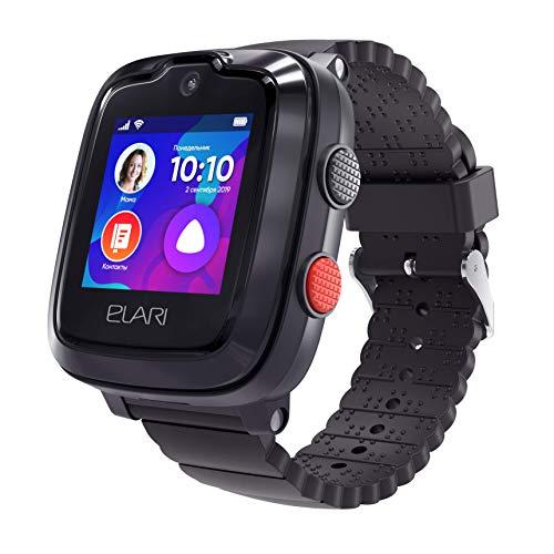 4G Kids Smart Watch Phone GPS Tracker för pojkar och flickor vattentät, 2-vägs ljud- och videosamtal, SOS-knapp, borttagningssensor, kamera, MP3-spelare - ELARI KidPhone 4GR (svart) (Svart)