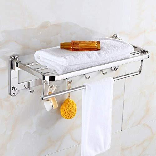 MMWYC Plataforma de baño, montado en la Pared de Acero Inoxidable de baño Cocina Especias Organizador Rack con móviles Gancho / 15.7~23.6 Pulgadas (Size : 60cm)