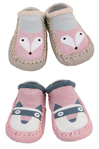 LCX 2 Paar Baby Jungen Mädchen Hausschuhe Anti-Rutsch-Schuhe Socken 9-18 Monate (Fox & Waschbär)