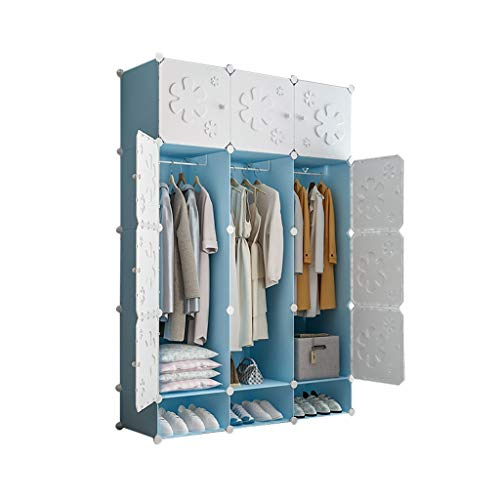 wardrobe Cube DIY Portable Cupboard Cabinet Organiser Storage System With Doors Hanging Rod(2 Styles) FANJIANI (Size : 111x47x165cm)