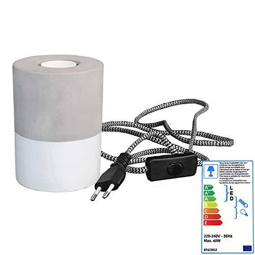 Pendelleuchte in Betonoptik und Tischlampe im Betonstil   Retro Lampen   als LED Lampe nutzbar   Für den Innenbereich   5,5x10 cm hängend oder 9x13 cm stehend (Weiss, 9x13 cm Stehend)