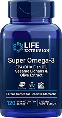 Life Extension Super Omega-3 (Fish Oil) EPA/DHA with Sesame Lignans & Olive Extract, 120 Enteric Coated Softgels, Package may vary