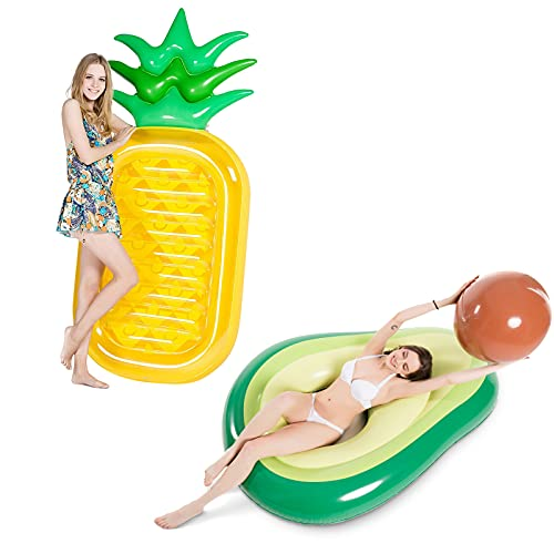 Jasonwell Giant 76″ Pineapple Pool Party Float Raft Summer Beach Swimming Pool Inflatable Floatie PJasonwell Inflatable Avocado Pool Float Floatie with Ball
