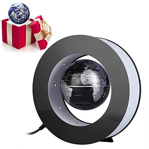 Globo runder elektronischer runder Globus mit LED Licht Home Office Display Silber und schwarz