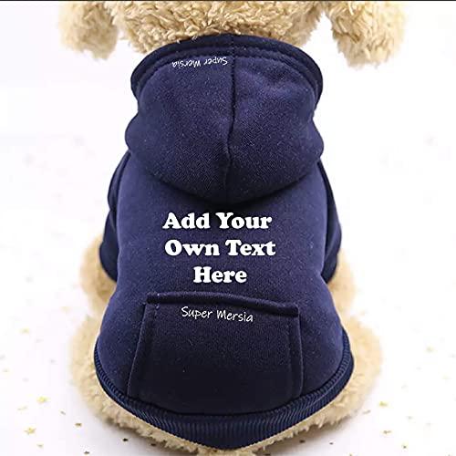 Super Mersia - Sudadera personalizada para perro y gato con capucha de algodón para perro con bolsillo al aire libre para perros pequeños y cachorros (azul, grande)