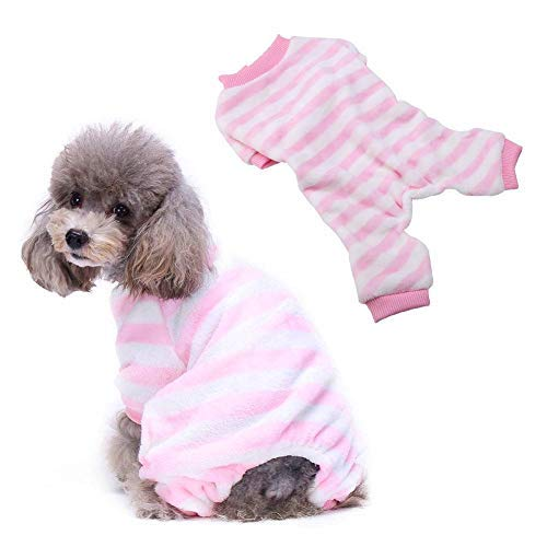 Pssopp Hond Winter pyjama Hond Kat Roze Gestreepte Jumpsuit Kat Zachte Warm Thuis Draag Leuke flanel pyjama Outfit voor Kleine Medium Hond Kat, L, roze