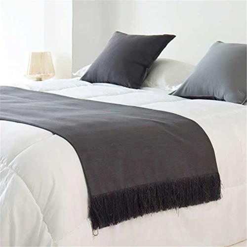 HXFYJ Bufanda de Corredor de Cama de Color sólido borlas Hechas a Mano Funda de Cama Ropa de Cama de algodón colchas Toalla de Cola de Cama para Hotel de Dormitorio,Dark Grey-67X220cm for 150cm Bed
