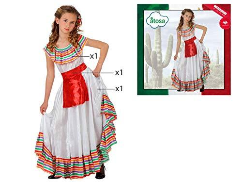 Cisne 2013, S.L. Disfraz de 3 Piezas para Carnaval Infantil niña de Mejicana Color Blanco. Mexican Girl. Talla 10/12 años de niño y niña. Cosplay niña Carnaval.