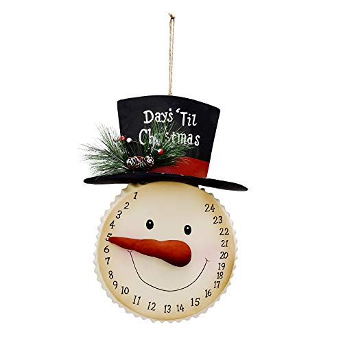 E-view Hanging Snowman Christmas Advent Calendar Countdown, Metal Xmas Ornament for Door Wall, Indoor Outdoor Holiday Decor Days Until Christmas Countdown (Snowman)