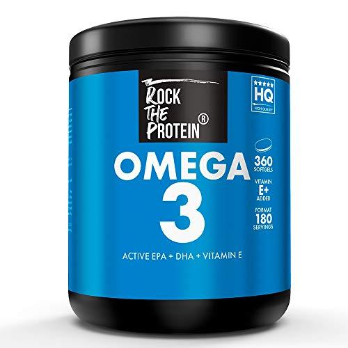 RTP® OMEGA 3 + Vit E 360 Capsule di Olio di Pesce Premium Dose da 2000mg ad Alta Biodisponibilità EPA e DHA ad Alta Concentrazione