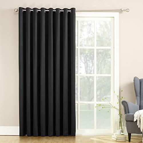 "Sun Zero Barrow Extra-Wide Energy Efficient Sliding Patio Door Curtain Panel with Pull Wand, 100"" x 84"", Black"