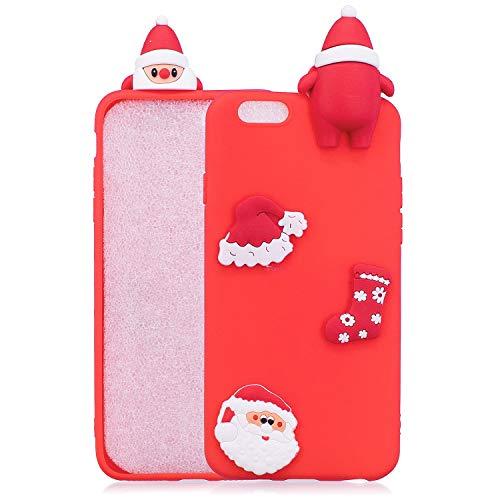 HongYong - Carcasa para iPhone 6S Plus de silicona de Navidad, para iPhone 6 Plus y 6S Plus, de color rojo de goma