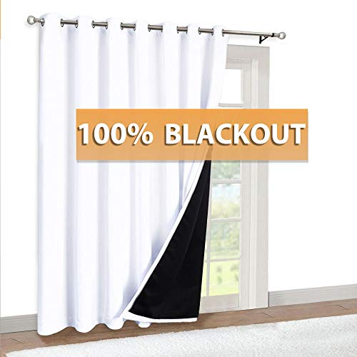 RYB HOME Sliding Door Curtains - Total Blackout 2 Layers with Black Liner Grommet Soundproof Curtain for Living Room Family Room Playroom Office Christmas Decor, 100 x 84 inches, Pure White, 1 Pc