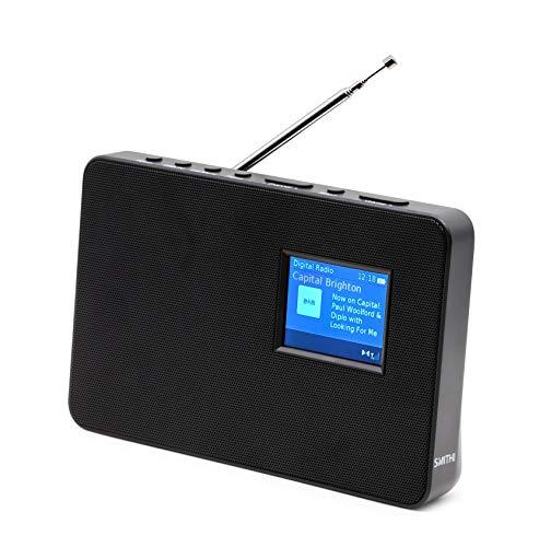 Smith-Style Metal DAB + FM DAB Radio digitale portatile, piastra grill, orologio e schermo a colori da 2,8 pollici – Radio...