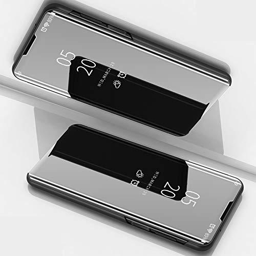 BeyondTop Spiegel Hülle Kompatibel mit LG K61 Hülle Cover Sleep Flip Schutzhülle für LG K61 (Schwarz)