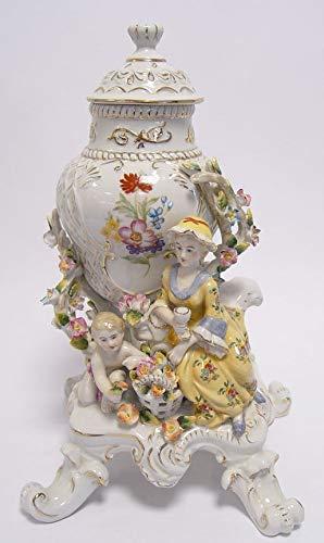 Casa Padrino Barock Porzellan Vase mit Deckel - Rokoko Antik Stil