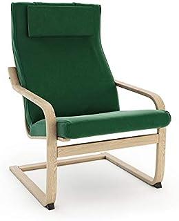 Masters of Covers - Funda de repuesto para sillón de Ikea «Poäng», poliéster algodón, Terciopelo - Verde, Cushion Design 2