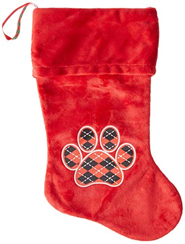Mirage Pet Products Argyle Paw Red Screen Print Velvet Christmas Stocking Red, 18'