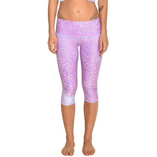Teeki, Women's Capri, Mermaid Fairy Queen Lavender Pattern, Small