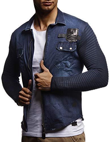 Leif Nelson heren gebreide jack vintage jeans hemd voor mannen slimfit lange mouwen vrije tijd jack overhemd wassen casual LN3550